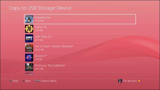 """Das """"Auf USB-Speichergerät kopieren"""" Menü auf PS4."""