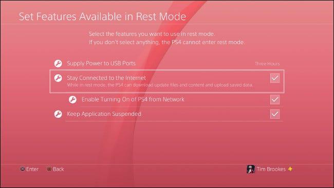 """Das """"Festlegen der im Ruhemodus verfügbaren Funktionen"""" Menü auf PlayStation 4."""