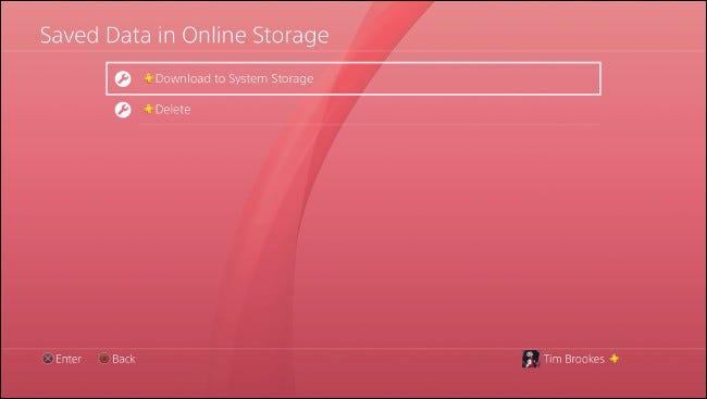 """Wählen """"In den Systemspeicher herunterladen"""" auf PS4."""