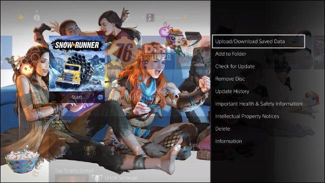 """Wählen """"Gespeicherte Daten hochladen / herunterladen"""" auf dem PS4-Startbildschirm."""