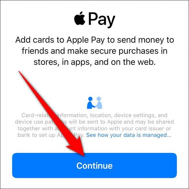 iPhone Apple Wallet Tippen Sie auf Weiter
