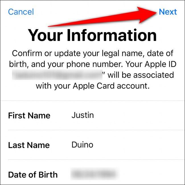 iPhone Wallet Bestätigen Sie Ihre Informationen Tippen Sie auf Weiter