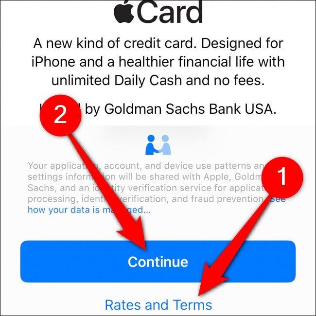 iPhone Wallet Apple Card Nutzungsbedingungen lesen Tippen Sie auf Weiter