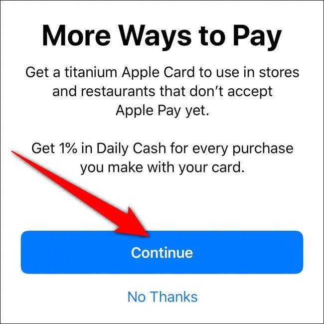 iPhone Wallet Titanium Apple Card bestellen Klicken Sie auf Weiter