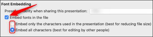 Optionen zum Einbetten von Schriftarten für Mac