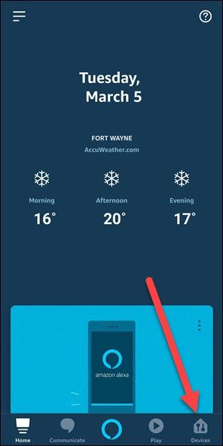 Alexa App mit Pfeil in Richtung Geräteoption