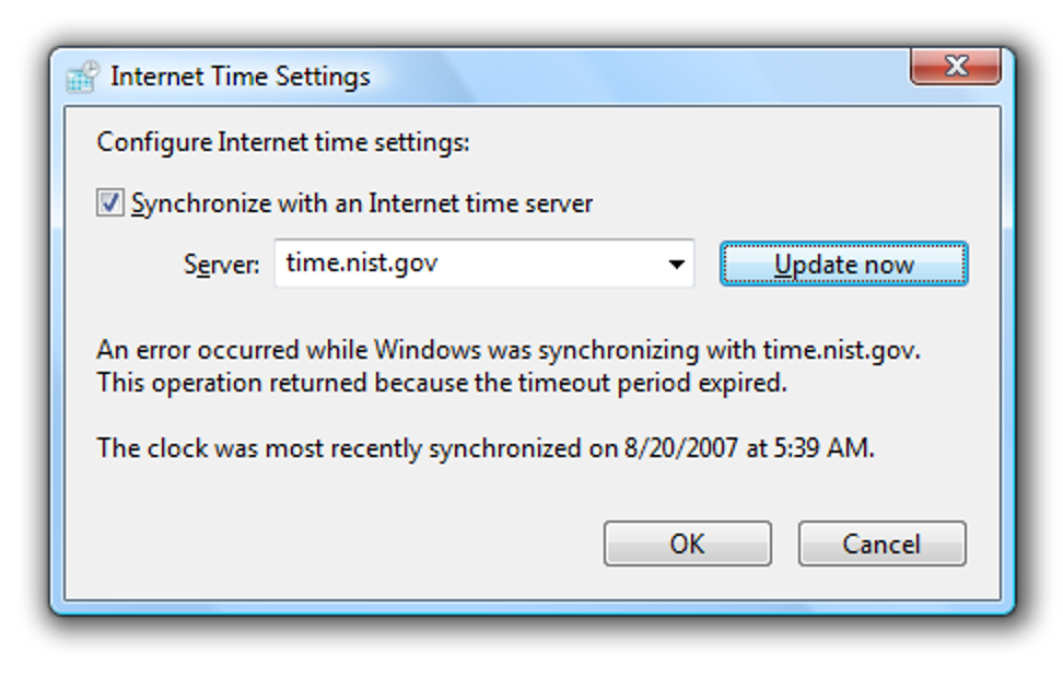 Umgang mit Windows Vista Time Sync-Problemen