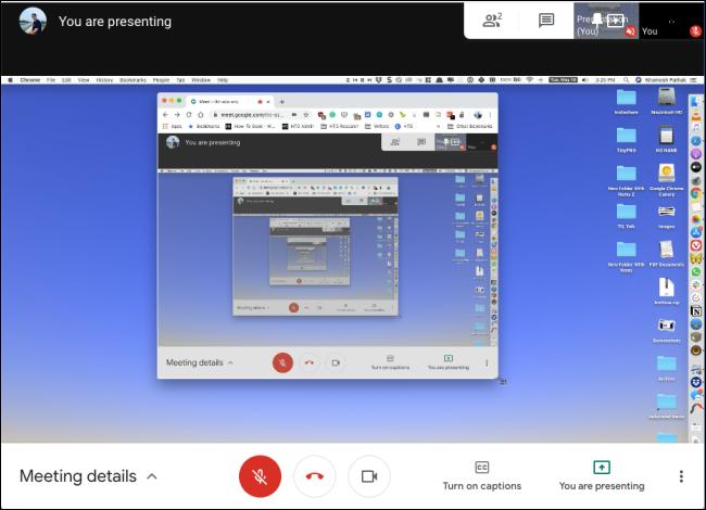 Ein freigegebener Bildschirm in Google Meet.