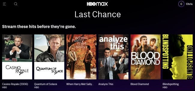 Last Chance Titel auf HBO Max