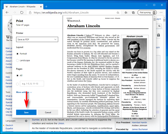 Klicken Sie in Microsoft Edge auf Im Druckfenster speichern