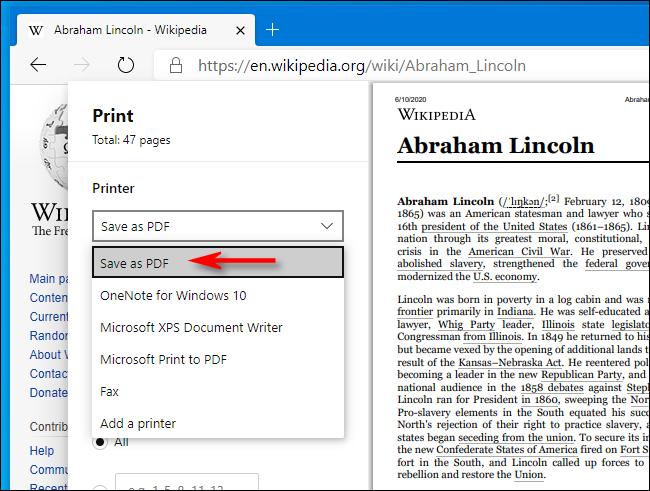 Wählen Sie im Fenster Drucken in Microsoft Edge die Option Als PDF speichern