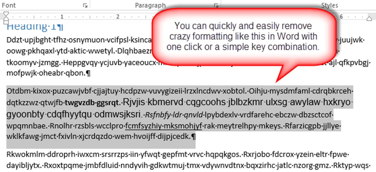 So entfernen Sie alle Formatierungen aus ausgewähltem Text in Word 2013-Dokumenten