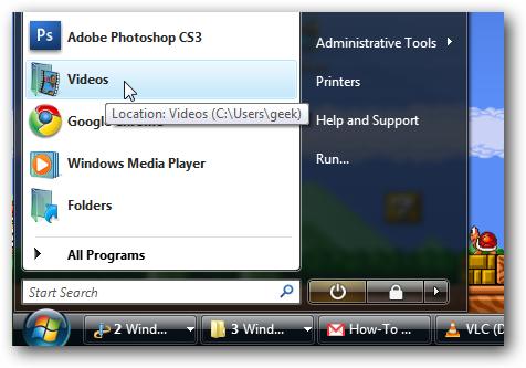 Windows Vista angehefteter Startmenüordner
