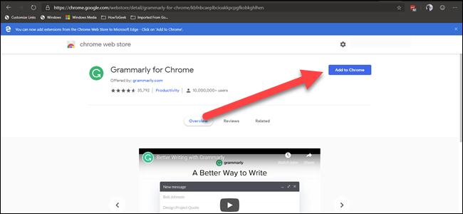 Chrome Web Gramarly-Erweiterung mit Pfeil, der auf die Schaltfläche
