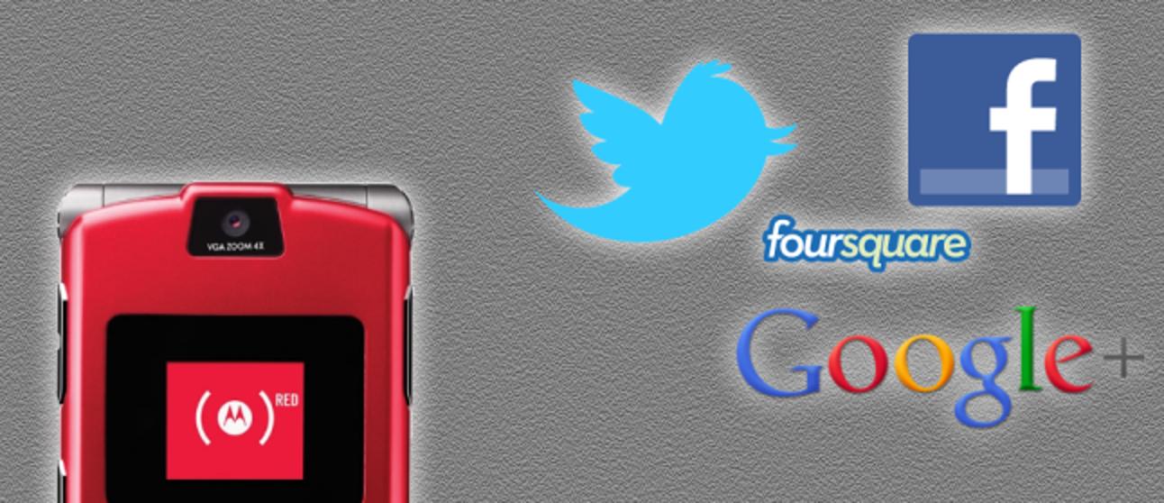 Verwendung von Facebook, Twitter, Google+ und Foursquare per SMS