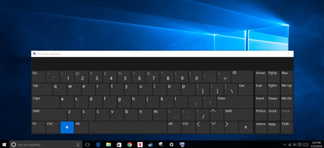 Verwendung der Bildschirmtastatur unter Windows 7, 8 und 10