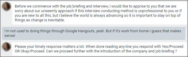Google Hangouts-Chat mit Entschuldigung für die Durchführung von Interviews über den Chat