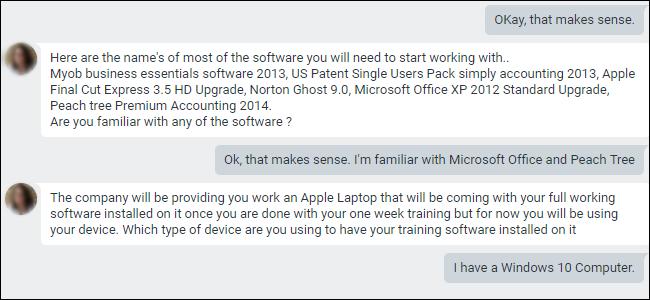 Google Hangouts-Chat, in dem Apps beschrieben werden, die für das Training erforderlich sind.