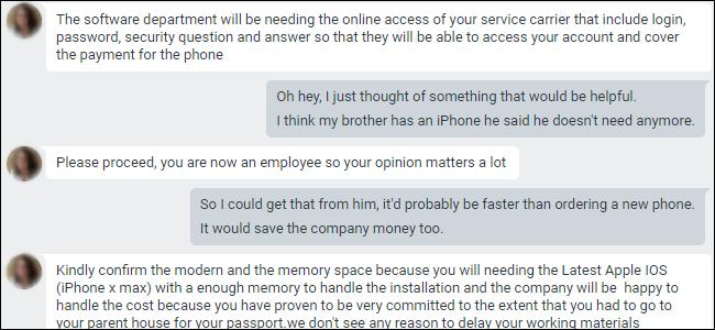 Google Hangouts-Chat fragt nach Anmeldeinformationen für das Mobilfunkanbieterportal.
