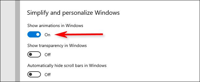 """Schalten Sie die aus """"Animationen in Windows anzeigen"""" Möglichkeit."""