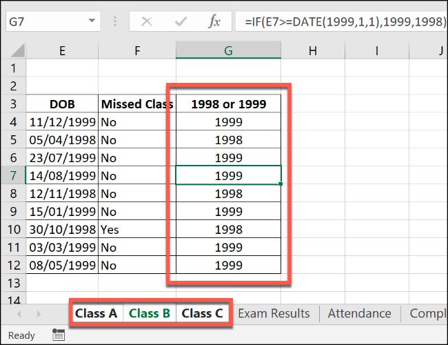 Eine Excel-IF-Formel, die auf mehrere gruppierte Arbeitsblätter angewendet wird.