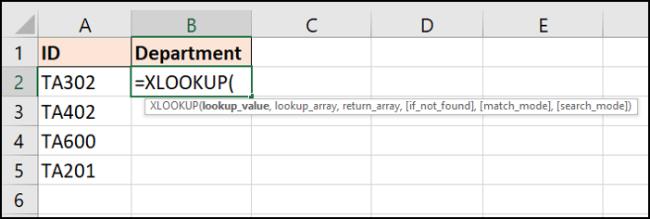 Informationen, die für die XLOOKUP-Funktion benötigt werden