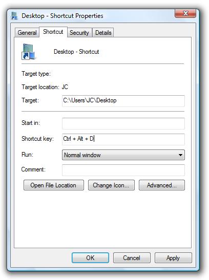 Benutzerdefinierte Tastaturkürzel zum Öffnen des Desktop-Ordners