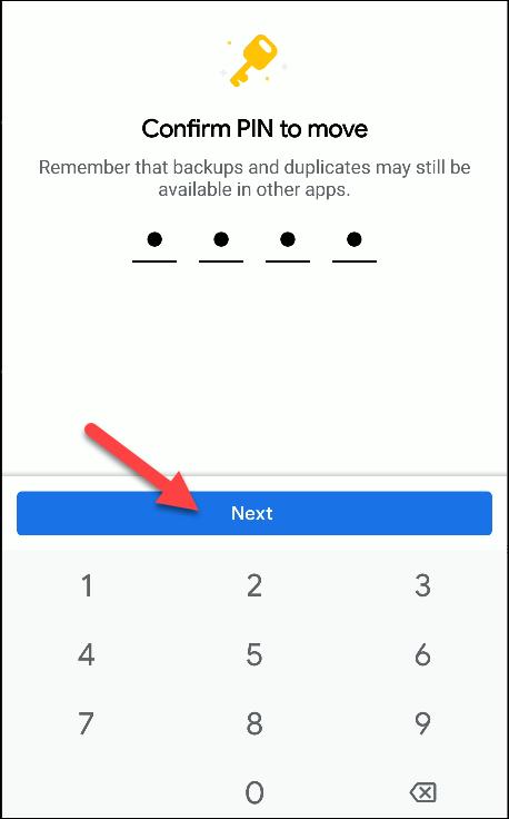 Dateien von Google bestätigen Pin zu verschieben