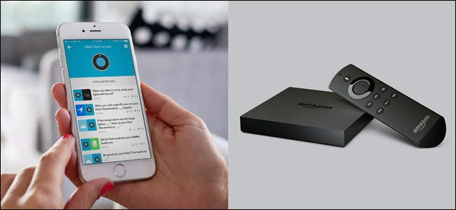 Eine Nest-App auf dem iPhone neben einem FireTV.
