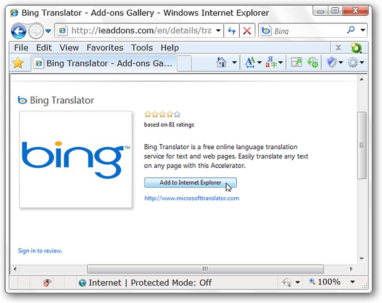 Übersetzen Sie Sprachen in IE 8 mit Bing Translator