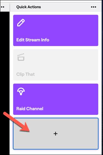 Klicken Sie auf die Schaltfläche Hinzufügen, um Ihrem Twitch-Bedienfeld für schnelle Aktionen neue Aktionen hinzuzufügen.