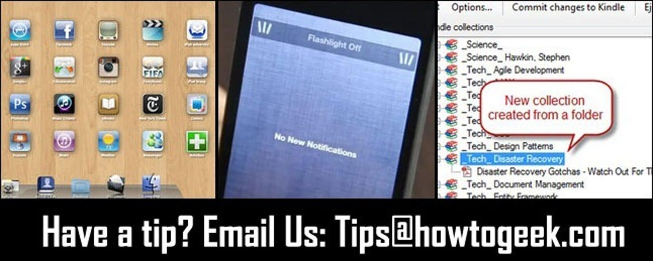 iPad-Schnittstellenemulation für Windows, Easy Access iPhone-Taschenlampe und Kindle Collection Management