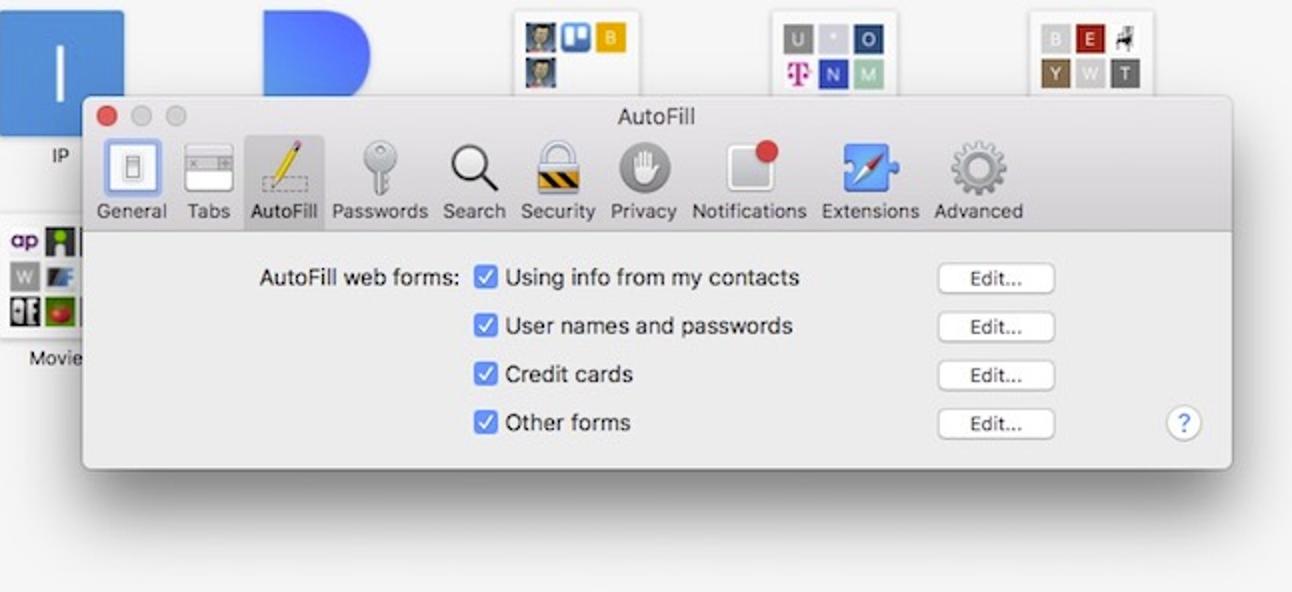 Deaktivieren und Bearbeiten der automatischen Füllung von Safari unter MacOS und iOS