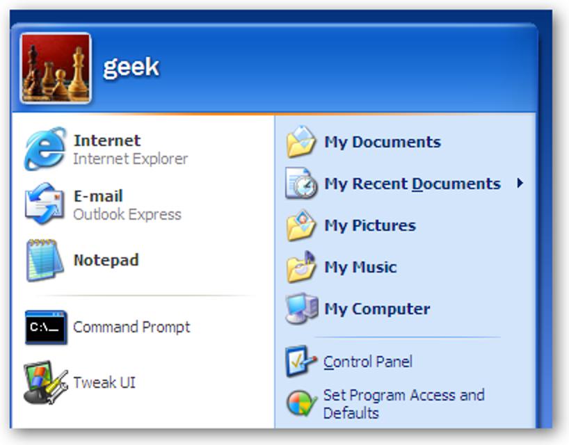 Entfernen Sie den Benutzernamen aus dem Startmenü in XP