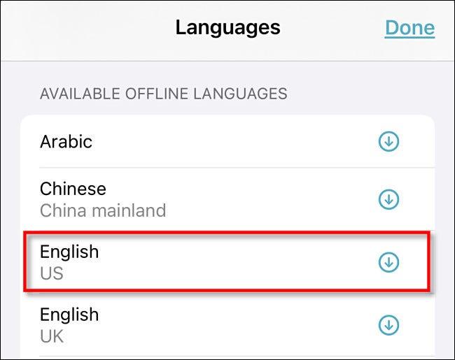 """Tippen Sie auf eine Sprache in der """"Verfügbare Offline-Sprachen"""" Sektion."""