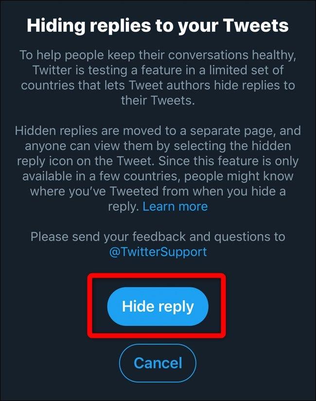 Twitter Mobile Ausblenden Antworten Popup-Dialog