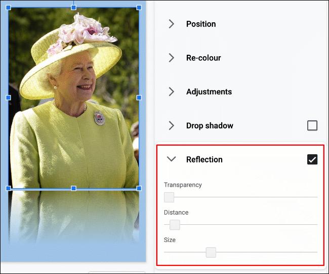 """Um einem Bild in Google Slides eine Reflexion hinzuzufügen, klicken Sie auf Format> Formatoptionen> Reflexion"""" width=""""650″ height=""""540″ onload=""""pagespeed.lazyLoadImages.loadIfVisibleAndMaybeBeacon(this);"""" onerror=""""this.onerror=null;pagespeed.lazyLoadImages.loadIfVisibleAndMaybeBeacon(this);""""/></p> <p>Sie können den Effekt weiter ändern, indem Sie die Transparenz, den Abstand und die Größe der Reflexion mithilfe der bereitgestellten Schieberegler ändern.</p> <p>Bewegen Sie den Schieberegler für jede Option mit der Maus nach links oder rechts, um den Effekt zu verringern oder zu erhöhen.</p> <p><img class="""