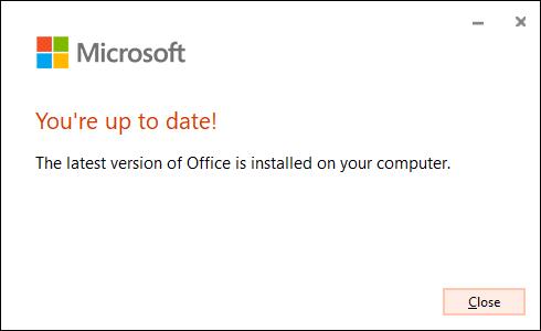 """Das """"Du bist auf dem neuesten Stand"""" Meldung zur Bestätigung, dass Microsoft Office seine Software erfolgreich aktualisiert hat."""