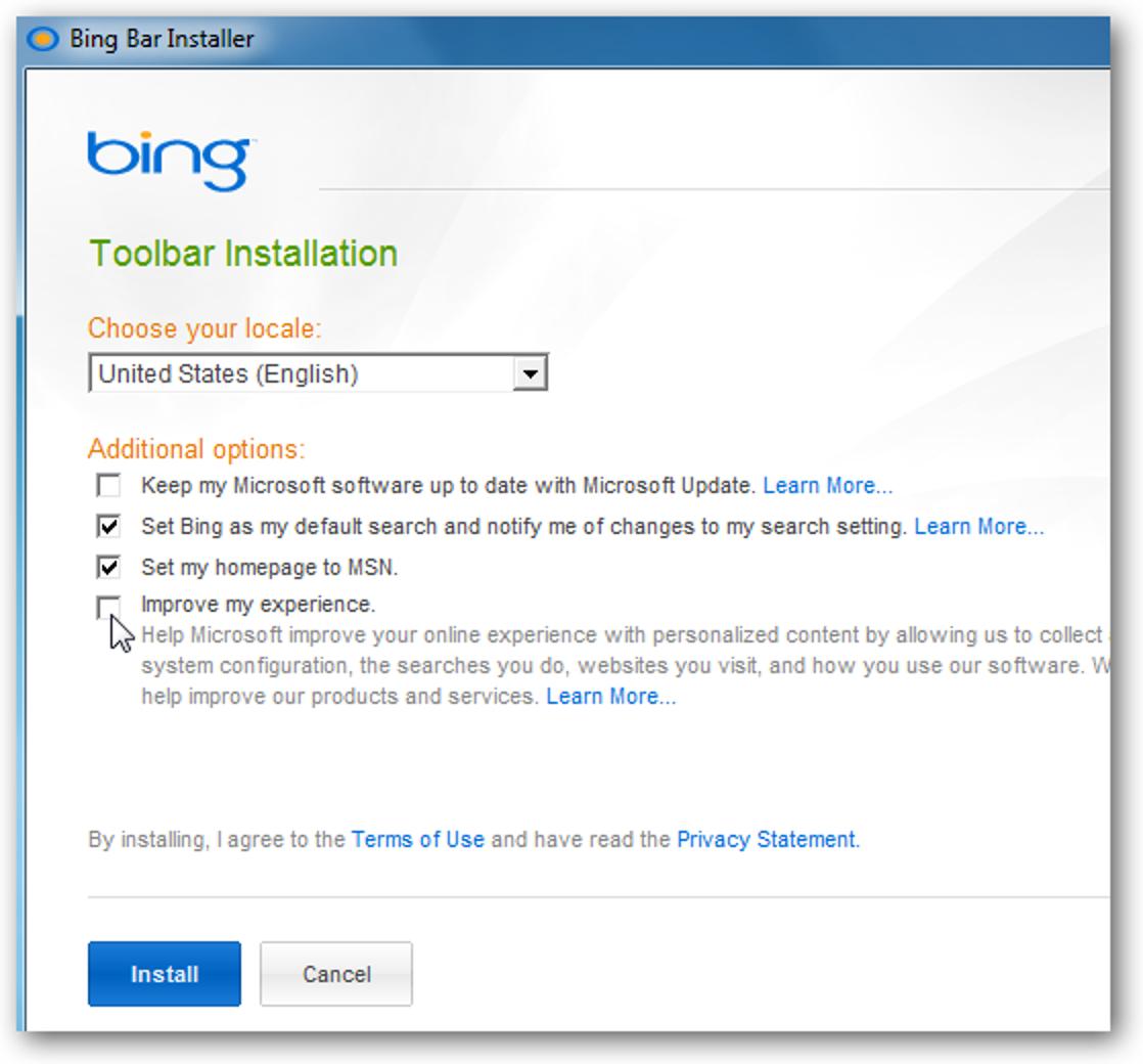Die neue Bing-Leiste bietet einfachen Zugriff auf Suchanfragen und Microsoft Live Services