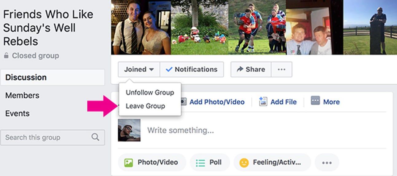 So verlassen Sie eine Facebook-Gruppe