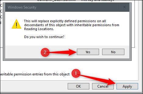 """Klicken """"Anwenden,"""" Lesen Sie die Sicherheitsmeldung und klicken Sie dann auf """"Ja."""""""