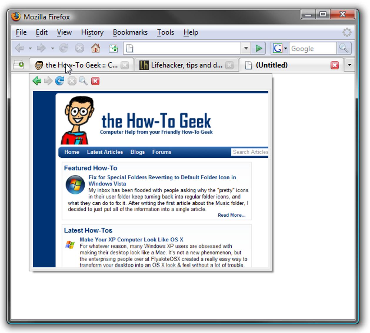 Popup-Vorschau im Vista-Stil für Firefox-Registerkarten