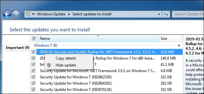 Ausblenden eines Updates in Windows Update unter Windows 7