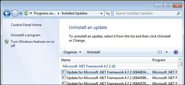 Deinstallieren eines Windows-Updates unter Windows 7