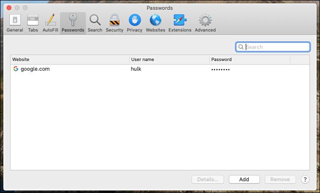 Eine Liste der in Safari für Mac gespeicherten Kennwörter