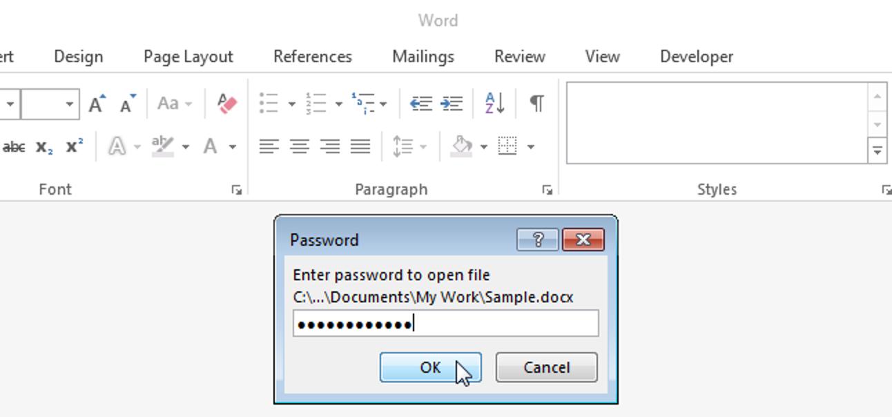 So fügen Sie einem Word-Dokument ein offenes Kennwort hinzu