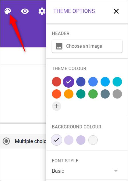 Passen Sie das Thema an Ihre Website mit dem Palettensymbol an.