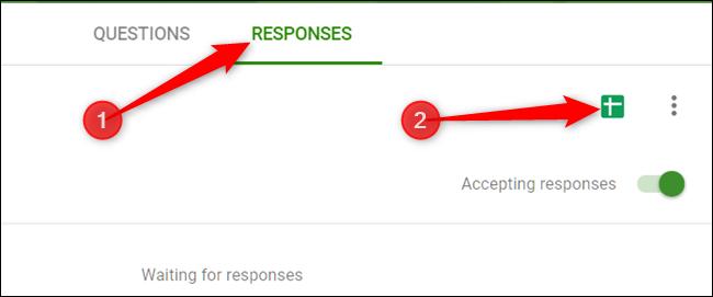 """Klicken Sie auf, um eine Tabelle mit allen Antworten einzurichten """"Antworten"""" Klicken Sie auf die Registerkarte und klicken Sie dann auf das grüne Blatt-Symbol."""