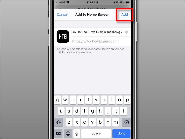 Tippen Sie auf Hinzufügen, um dem Startbildschirm auf dem iPhone ein Symbol hinzuzufügen