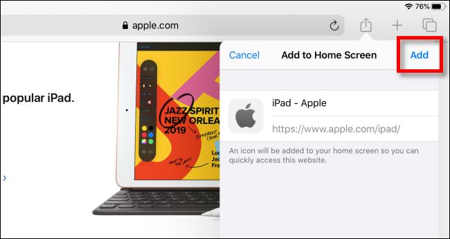 Tippen Sie auf Hinzufügen, um dem Startbildschirm auf dem iPad ein Symbol hinzuzufügen